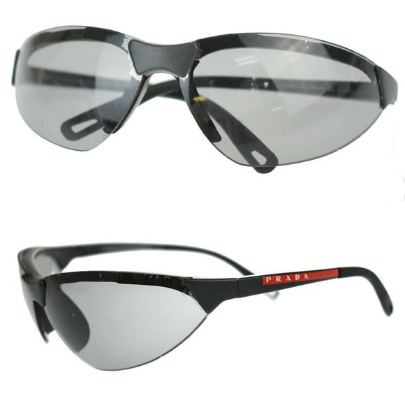Authentic PRADA Sports Logos Sunglasses Eye Wear Titanium Composite Black Italy